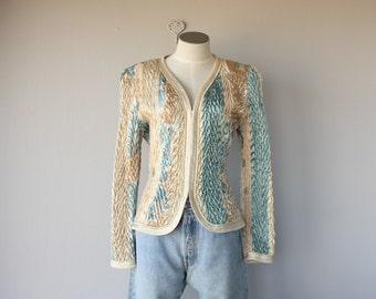 Vintage 1980s Jacket | 80s Jacket | Bold Shouldered Silk Jacket | Tailored Jacket | Silk Evening Jacket