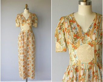 1970s Floral Dress | 70s Cotton Lace Dress | 1970s Maxi Dress | 70s Dress | 1970s Dress (small)