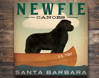 custom NEWFIE Newfoundland Lake Dog Canoe Company Giclee Print Signed FREE PERSONALIZATION
