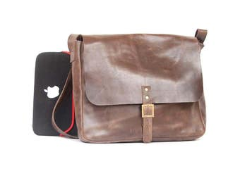 Mens Messenger Bag made of 100 %  pure leather handmade leather bags for men Brown Leather Cross body laptop book school bag