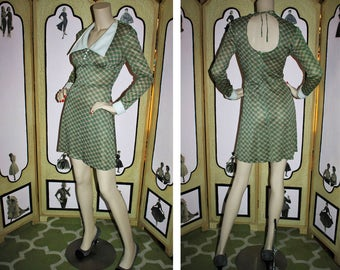 Vintage 1970's Lightweight Silky Green and Pink Plaid Dress with Open Back by Brandye California. Small.