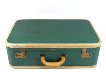 Vintage Green Hard Shell Mendel Suitcase - With Original Keys