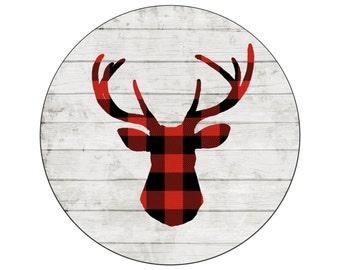 "Christmas decor, buffalo plaid deer, plaid tree, rustic Christmas, wooden deer, large wall,  art cabin decor, 18"" circle, hunter gift, lodge"
