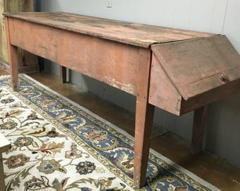 Early American primitive butchers table salmon paint 27d80L90L33.5h Shipping is not free
