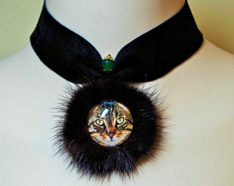 Cat Necklace, Cat Lovers Necklace, Kitty cat necklace, real fur leather choker collar, cat pendant charm, real mink fur, cat jewelry picture