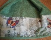 Butterflies on green Kitchen Towel with a fabric top, kitchen towel, hanging kitchen towel