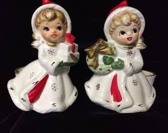 Two Sweet Little Napco Christmas Candle Holders