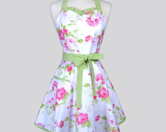Sweetheart Womens Retro Apron / Tanya Whelan Pink Roses with Kiwi Green Vintage Style Apron with a Cute Full Skirt