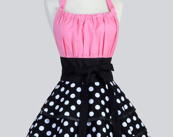 Womens Flirty Chic Apron - Black and White Polka Dots with Bubblegum Pink Womans Sexy Rockabilly Retro Pinup Kitchen Apron