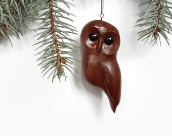 Wooden Christmas owl tree ornament handmade window carving