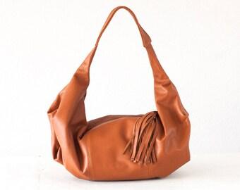 Brown leather bag, hobo purse everyday bag small shoulder bag slouchy purse hobo purse women small bag - Mini Kallia bag
