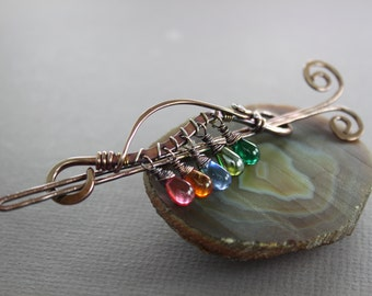 Arch hair slide with rainbow multicolored dangles with copper and silver - Hair accessory - Hair pin - Hair barrette - Shawl pin - HP012