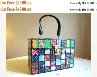 Holiday 2016 Sale Clearance Sale Vintage Marie Bartlett Wooden Patchwork Box Purse Handbag RARE