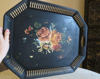 Vintage Black Metal Tole Tray