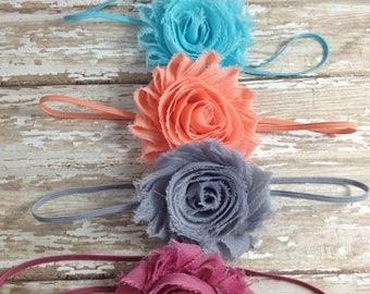30% OFF SPRING SALE Set of 4 Flower Headbands, Rosey Mauve, Silver, Peach, Ocean Blue, Baby Headbands, Infant Headbands, Newborn Headbands,