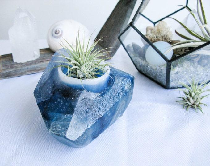Glass votive holder, crystal art, teal light holder, gift for her, housewarming gift, boho home decor, tabletop decor, air plant holder