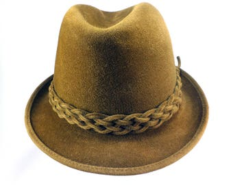 Vintage Men's D Pinelli Beaver Blend Felt Hat with Braid Band, 6 7-8, Brown, Hand Crafted