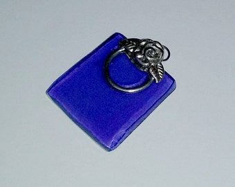 Recycled Skyy Vodka Cobalt Blue Pendant with Rose Detail