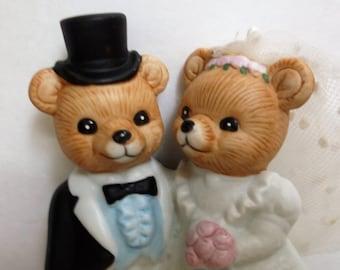 Teddy Bear Bride and Groom..Homco Cake Topper..1990's Bears Figurine
