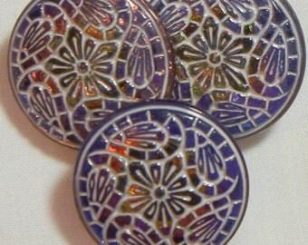 Paisley and Flower Czech Glass Button (3)