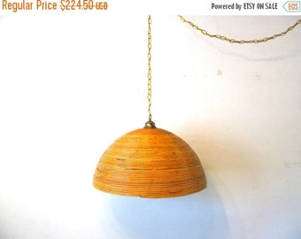 ON SALE Vintage Bamboo Swag Lamp, Chain Light, Tiki, Boho