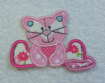 Stuffed Cat Fabric Embroidered Iron on Applique Patch Ready to Ship