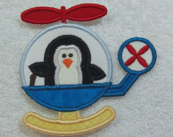 Penguin in a Helicopter Fabric Embroidered Iron On Applique Patch Ready to Ship