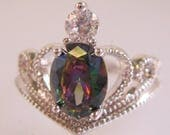 Estate Mystic Topaz Sterling Silver Crown Ring Size 8 Vintage Jewelry Jewellery