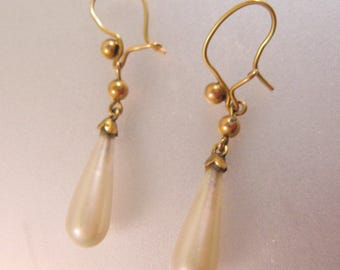 Edwardian English 9ct 9k Solid Gold Baroque Pearl Drop Dangle Earrings Pierced Estate Jewelry Jewellery