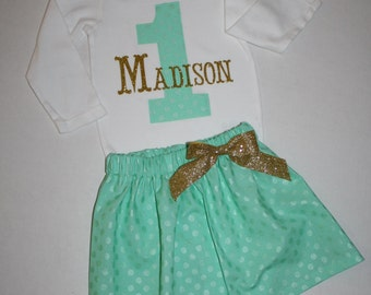 baby girls first birthday outfit, mint green gold glitter bling 1st birthday outfit cake smash outfit personalized first birthday bodysuit