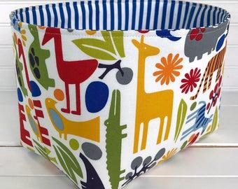 Storage Basket, Fabric Bin, Organizer, Diaper Holder, Nursery Decor, Animals, 2D Zoo, Rainbow, Bright, Tiger, Giraffe - Day at the Zoo