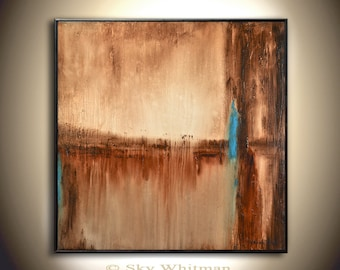 Big Abstract Painting 30x30 Square Oil Painting Modern Brown and Rust Earth Tones Rustic Original Abstract Art Glass Like Finish Sky Whitman