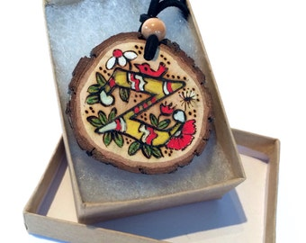 Initial Custom Pendant Necklace from Natural Wood Slice or Luggage Backpack Tag