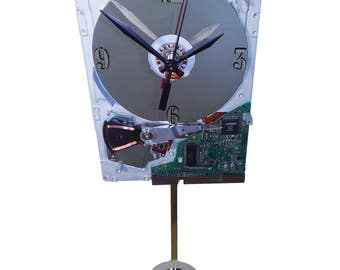 SALE 10% Off. Hard Drive Pendulum Clock, Early 1980s. Pendulum is a Laptop Disk Platter. From IBM PC of the 1980s. Historical Clock. Vintage