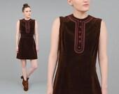 ON SALE Vintage 60s Dress Chocolate Brown Velveteen Dress Vintage 1960s Velvet Mod Mini Dress with Tie Belt Medium M