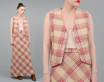 Vintage 70s Plaid Wool A-line Maxi Skirt Cropped Vest Boho Hippie 2pc Matching Set Tan Pink Red Small Medium S M