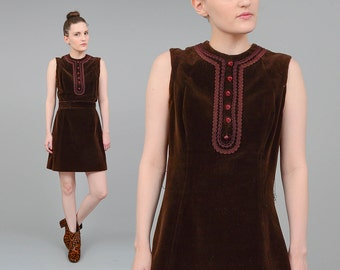Vintage 60s Dress Chocolate Brown Velveteen Dress Vintage 1960s Velvet Mod Mini Dress with Tie Belt Medium M