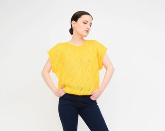 Vintage 80s Yellow Sweater Sheer Pointelle Open Knit Jumper - 1980s Mohair Sweater - Cap Sleeve Slouchy Top - Medium Large M L