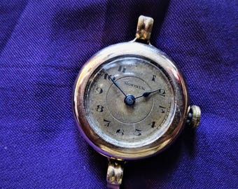 Antique Art Deco Gold Ladies Convertible Gold Filled Montauk Watch From The 1920's For Repair or Steampunk Supply Non-working