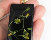 A Weed ? StickTight!,  Pressed Flower Pendant, Real Flower Necklace, Resin, (1973)