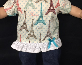 15 Inch Doll Clothes Paris Doll Outfit Doll Shirt Doll Jeans Doll Pants Doll Headband Fits Like Bitty Baby or Bitty Twins