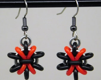Black and red Anemone Earring, fun and funky drop earring, chainmaille earring, black and red earring
