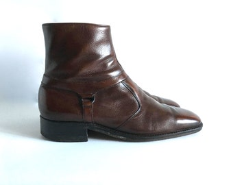 Vintage Men's Shoes 60's Mod, Chelsea Boots, Brown, Ankle Boots by Sears (Size: 10)