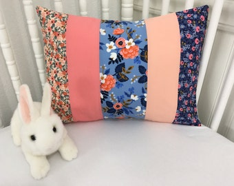 Pillow Cover, Nursery Pillow Cover, Shabby Chic Nursery Decor, 12 x 16 Inches, Navy Blue, Coral, Pink, Peach, Periwinkle, Floral, Flowers
