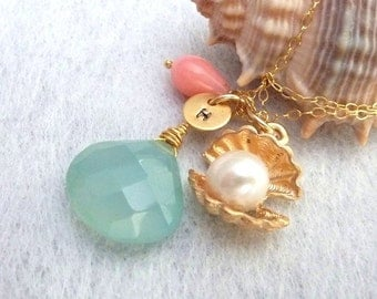 Aqua Chalcedony, Shell with Pearl, Custom Initial Disc, Pink Coral Necklace in 14k Gold Filled Chain