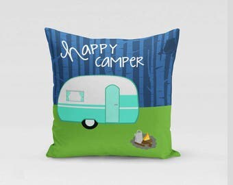 Happy Camper Outdoors Nature Lover Camping Gift Decorative Throw Pillow Cover or Pillow with Insert