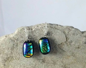 Multicolored Dichroic Fused Glass Earrings