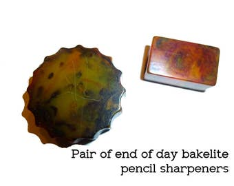 2 Bakelite Pencil Sharpeners. Pair of End of Day Bakelite Vintage 1940s Pencil Sharpeners.
