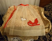 Vintage Christmas Apron Red and White Nylon with Felt Sleigh and Sequin Reindeer Applied