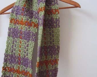 Plaid Crochet Scarf - Green Orange Purple